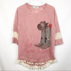 Southern Grace | Pink & Cream Tassels Blouse Top M